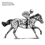 Jockey sur le cheval champion Cheval Racing hippodrome racetrack Sautez le champ de courses Course de chevaux Cheval d'emballage  Image libre de droits