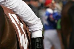 Jockey in Walking Ring. Close-Up Detail of Jockey on Thoroughbred in Walking Ring of Race Track Royalty Free Stock Image