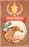 Jockey Winner Vintage Poster. With champion cup and rider on galloping horse design elements flat vector illustration Stock Photo