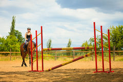 Jockey young girl doing horse jumping through hurdle Royalty Free Stock Images