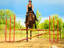 Jockey young girl doing horse jumping through hurdle Royalty Free Stock Photography