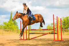 Jockey young girl doing horse jumping through hurdle Stock Photo