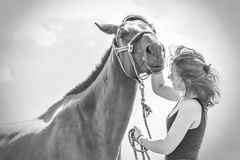 Jockey young girl kissing and hugging brown horse. Taking care of animals, love and friendship concept. Jockey young girl kissing and hugging dark horse on sunny royalty free stock images
