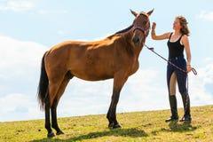 Jockey young girl petting brown horse Royalty Free Stock Image