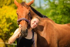 Jockey young girl petting and hugging brown horse Royalty Free Stock Photography