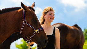 Jockey young girl petting and hugging brown horse. Taking care of animals, love and friendship concept. Jockey young girl petting and hugging brown horse on royalty free stock photo