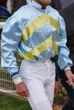 Jockeydetail na het ras Renbaanachtergrond renpaard Royalty-vrije Stock Foto's