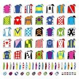 Jockeylikformig planlägg traditionellt Omslag, silke, muffar och hattar Ryttare på en häst nordlig pyatigorsk tävlings- russia fö stock illustrationer