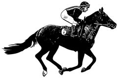 Jockeyn som rider den snabbt växande lopphästen, skissar illustrationen royaltyfri illustrationer