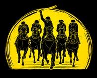 Jockeyreitpferd, laufender Schlauch, Reiter stock abbildung