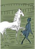Jockeys, cheval et jockey illustration de vecteur