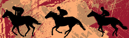 Jockeys and horse illustration Stock Images
