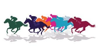Jockeys on racing horses. Colorful silhouettes of jockeys on racing horses against white stock illustration
