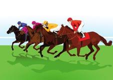 Jockeys riding racehorses. Illustration of group of jockeys riding racehorses on grass Stock Photos