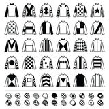 Jockeyuniform - Jacken, Seiden und Hüte, Reitenikonen eingestellt Stockbilder