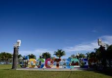 Jocotepec, Мексика 30-ое ноября 2018: Знак Jocotepec перед озером Chapala стоковое изображение rf