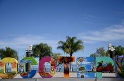 Jocotepec, Мексика 30-ое ноября 2018: Знак Jocotepec перед озером Chapala стоковые фото