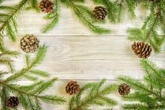 Jodła rozgałęzia się i rożki układają na lekkim drewnianym tle Bożenarodzeniowy skład, rama W centrum kopia zdjęcia stock