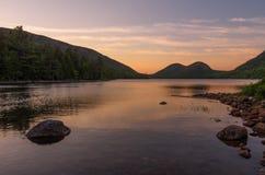 Jodan damm på solnedgången Fotografering för Bildbyråer
