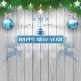 Jodeł gałąź i bożonarodzeniowe światła żarówka na drewnianym tle ilustracji