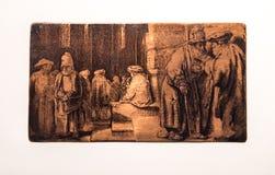 Joden op een synagoge, plaat, Rembrandt van Rijn royalty-vrije stock foto's
