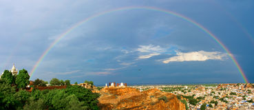 Jodhpur. The blue city in Rajasthan state in India. Rainbow over town Royalty Free Stock Photo
