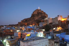 Jodhpur city and Mehrangarh Fort at night ,Rajasthan,India Stock Images