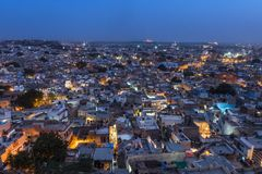 Jodhpur city in Rajasthan state in India during sundown. Royalty Free Stock Photos