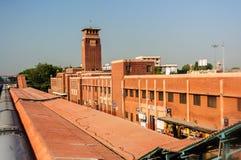 Jodhpur, de Trein van Rajasthan, India of Spoorpost in vroege ochtend Royalty-vrije Stock Foto's