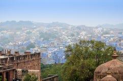 Jodhpur den blåa staden i det Rajasthan tillståndet i Indien Arkivfoto