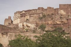 Jodhpur Fort. Former home of the Maharajah of Jodhpur. The massive Meherangarh Fort towering above the old city of Jodhpur, Rajasthan, India Royalty Free Stock Photography