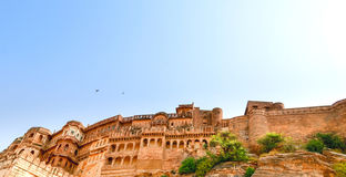 Jodhpur Fort, Rajasthan, India. The stone craved walls of the Fort surrounding the Jodhpur Palace Royalty Free Stock Image