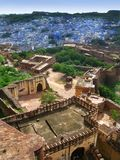 Jodhpur, India: the great Mehrangarh Fort. In Jodhpur, the blue city, in the heart of Rajasthan stock photography