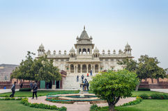 Jodhpur, India - January 1, 2015: Tourist visit The Jaswant Thada mausoleum Royalty Free Stock Images