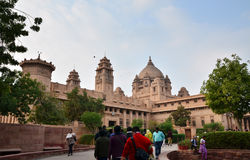 Jodhpur, India - January 1, 2015: People visit Umaid Bhawan Palace. On January 1, 2015, Umaid Bhawan located at Jodhpur in Rajasthan, India, is one of the world royalty free stock photos