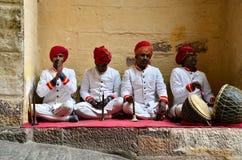 Jodhpur, India - January 1, 2015: Traditional Musicians at Mehrangarh Fort Stock Images