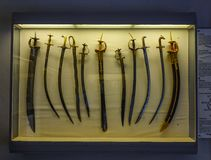 Ancient swords at Mehrangarh Fort Museum royalty free stock photo