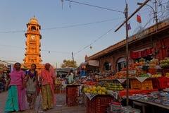 Clock tower and market in Jodhpur Royalty Free Stock Photos