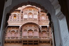 Arch and windows of Jodhpur palace Royalty Free Stock Images