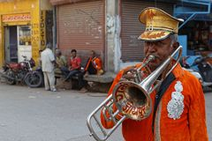 Trumpet in the streets of Jodhpur Royalty Free Stock Photos