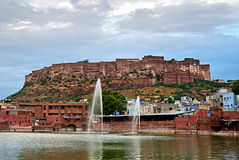 JODHPUR , INDIA - SEPT 21: View of the Mehrangarh Fort with the Royalty Free Stock Images