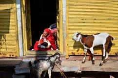 Jodhpur Indien - Januari 1, 2015: Indisk moder med hennes barn i Jodhpur, Indien Royaltyfria Bilder