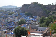 Jodhpur, Rajasthan, India. Heat haze on the old city. Jodhpur old town, the blue city, Indian state of Rajasthan, India. View of the compact urban sprawl of the Stock Image