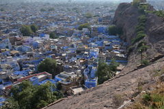 Jodhpur, Rajasthan, India. Heat haze on the old city. Jodhpur old town, the blue city, Indian state of Rajasthan, India. View of the compact urban sprawl of the Stock Photos