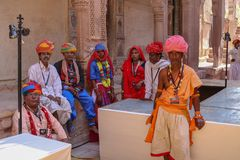 Men in traditional Rajasthani dress at Mehrangarh Fort stock photos