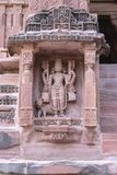 Sculpture of Hindu god in the wall of Mandore Temple stock image