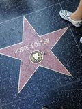 Jodie Foster Hollywood walk of fame star. Hollywood, California - July 26 2017: Jodie Foster Hollywood walk of fame star on July 26, 2017 in Hollywood, CA Stock Photo