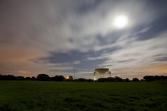 Jodrell bank with moon Royalty Free Stock Images