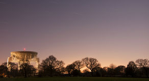 Jodrell bank at night. Long exposure of jodrell bank at night under full moon Royalty Free Stock Images