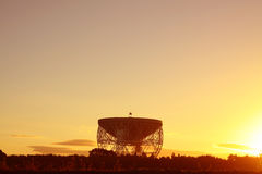 Jodrell Bank Observatory.  The Lovell Radio Telescope at sunrise Royalty Free Stock Images